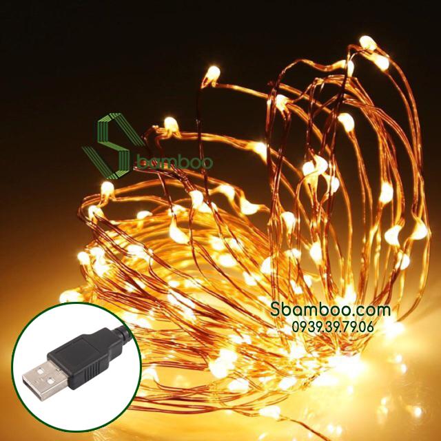Đèn Led Đom Đóm Sbamboo 5 Mét- USB- Màu vàng trang trí nhà mô hình tăm tre