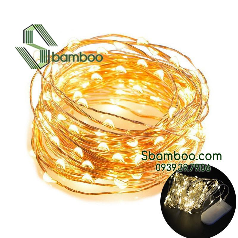 Đèn led đom đóm Sbamboo 10 mét- Màu vàng trang trí- Sử dụng pin cúc áo